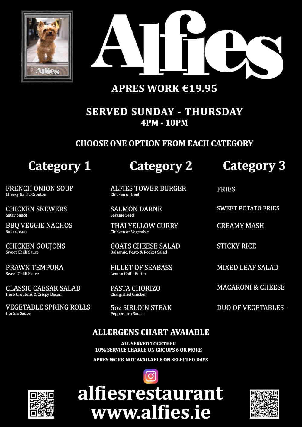 Alfies APRES WORK MAY 2019 menu